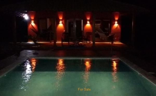 Pool and Deck Lights at night
